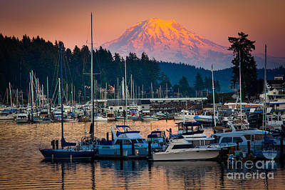 Illuminated Photograph - Gig Harbor Dusk by Inge Johnsson