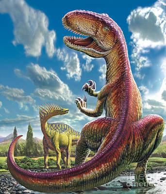 T-rex Digital Art - Gigantosaurus by Adrian Chesterman