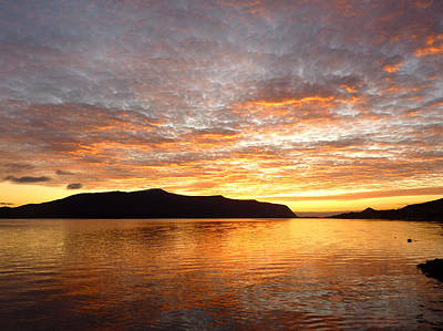 Gilded Fjord While The Sun Set Over Norwegian Mountains Print by David Schoenheit