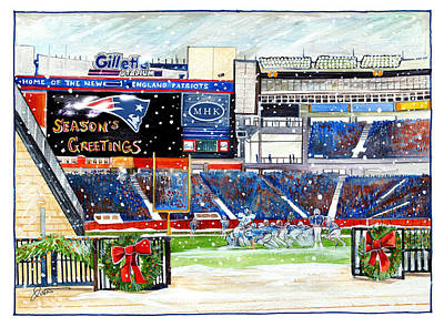 Stadiums Drawing - Gillette Holidays by Dave Olsen