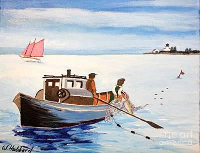 Lake Michigan Drawing - Gillnetter Off Beaver Island- Michigan by Bill Hubbard