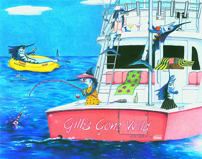 Martini Drawing - Gills Gone Wild by Karen Rhodes