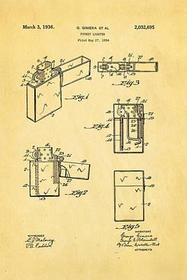 Lighter Photograph - Gimera Zippo Lighter Patent Art 1934 by Ian Monk