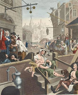 Falling Drawing - Gin Lane, Illustration From Hogarth by William Hogarth