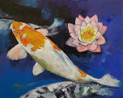 Gin Rin Koi And Water Lily Print by Michael Creese