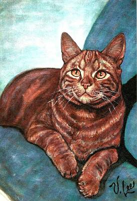 Domestic Short Hair Cat Painting - Ginger Tabby by VLee Watson