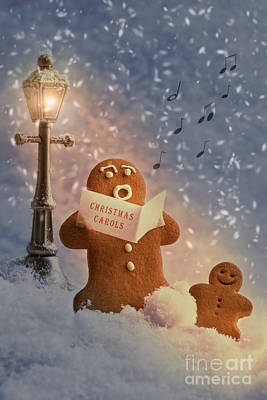 Gingerbread Carol Singers Print by Amanda And Christopher Elwell