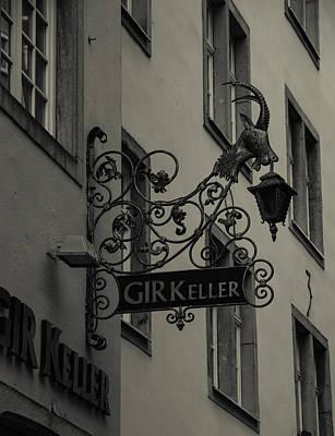 Ram Horn Photograph - Gir Keller Sign Bw Cologne by Teresa Mucha