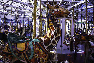 Antique Carousel Photograph - Giraffe Carousel Ride by Garry Gay