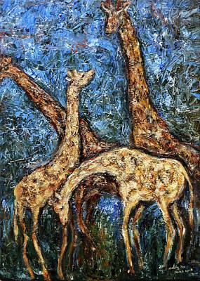 Giraffe Family Original by Xueling Zou