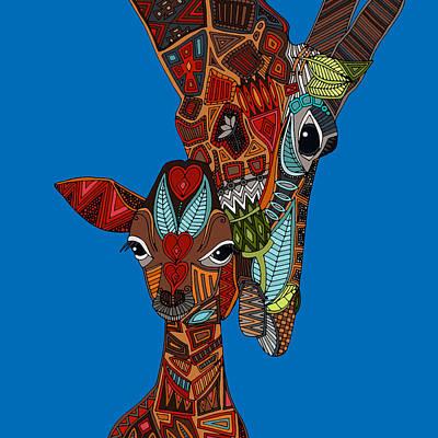 Giraffe Drawing - Giraffe Love Blue by Sharon Turner