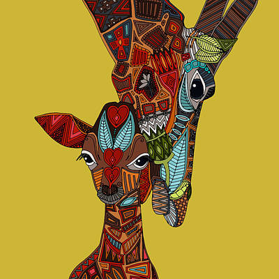 Giraffe Drawing - Giraffe Love Ochre by Sharon Turner