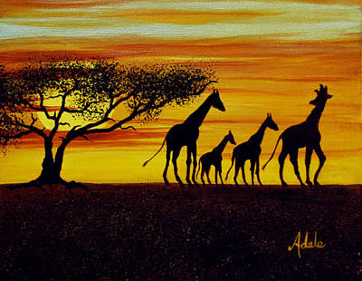 Giraffe Painting - Giraffe Silhouette  by Adele Moscaritolo