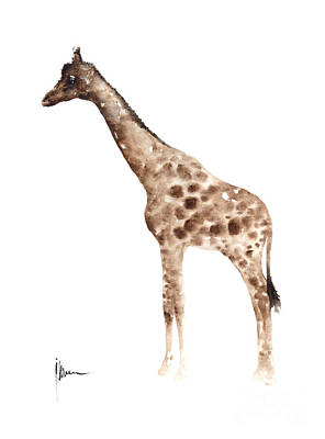Giraffe Mixed Media - Giraffe Watercolor Art Print Painting African Animals Poster by Joanna Szmerdt