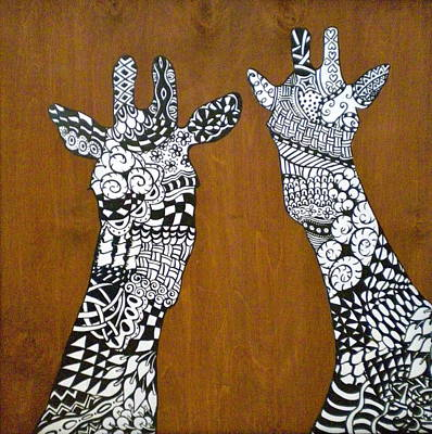 Detail Mixed Media - Giraffe Zen by Debi Starr