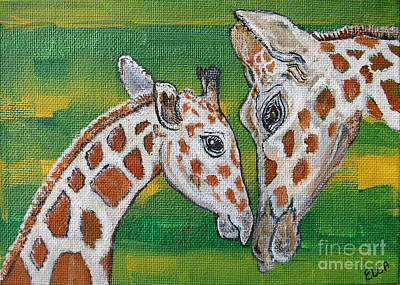 Noahs Ark Painting - Giraffes Artwork - Learning And Loving by Ella Kaye Dickey