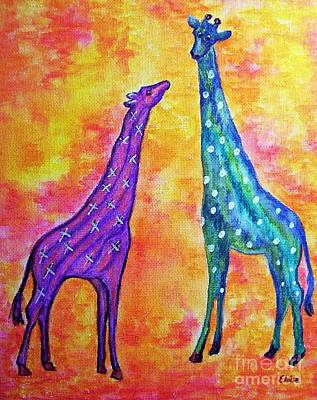 Mother And Baby Giraffe Painting - Giraffes With X's And O's by Eloise Schneider