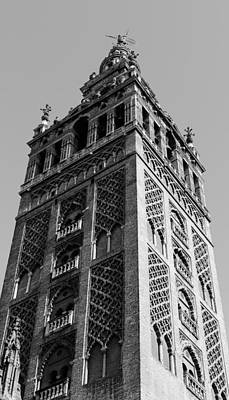 Giralda In Black And White Print by Andrea Mazzocchetti