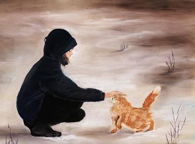 Girl And A Cat Print by Anastasiya Malakhova