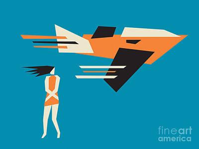 Girls Digital Art - Girl And Airplane by Igor Kislev