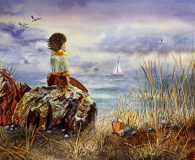 Sea Birds Painting - Girl And The Ocean Sitting On The Rock by Irina Sztukowski