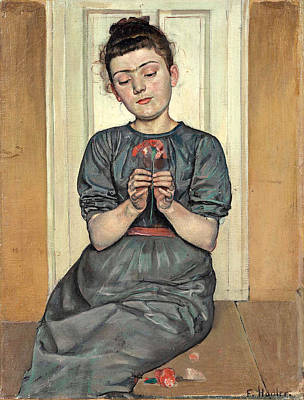 Ferdinand Hodler Painting - Girl Arranging Flowers. Girl With Carnation by Ferdinand Hodler