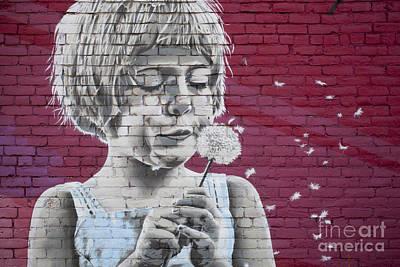 Girl Blowing A Dandelion Print by Chris Dutton