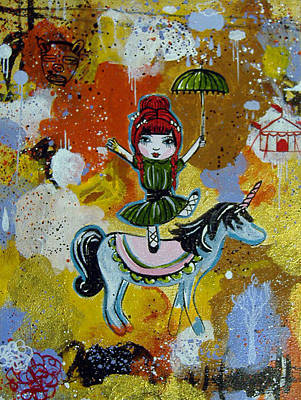 Little Girl Painting - Girl Circus by Cris Pires