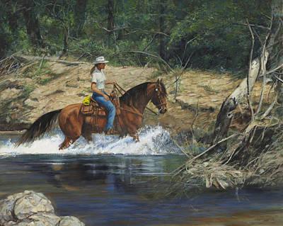 Girl Crossing Big Creek Print by Don  Langeneckert