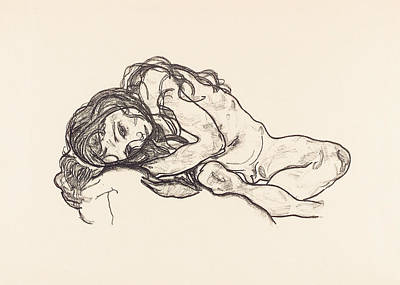 Schiele Drawing - Girl by Egon Schiele
