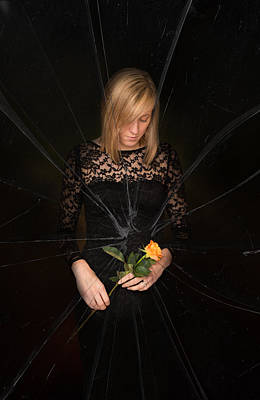 Shattered Photograph - Girl Holding Rose by Amanda And Christopher Elwell