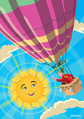 Travelling Art Digital Art - Girl In A Balloon Greeting A Happy Sun by Martin Davey