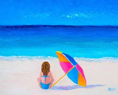 Cabin Interiors Painting - Girl In A Blue Bikini by Jan Matson