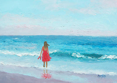 Beach Oil Painting - Girl In A Red Dress by Jan Matson