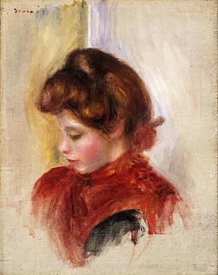 Pierre-auguste Renoir Painting - Girl In A Red Scarf by Pierre-Auguste Renoir