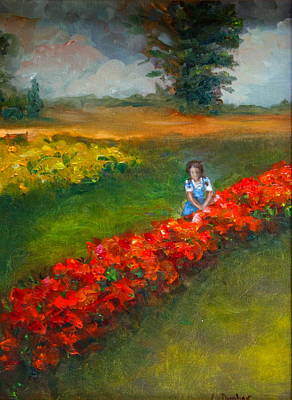 Impressionism Painting - Girl In Garden by Linda Dunbar