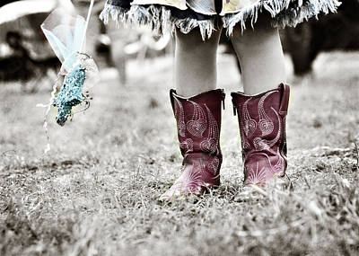 Girl In Red Boots Print by Angela Bonilla