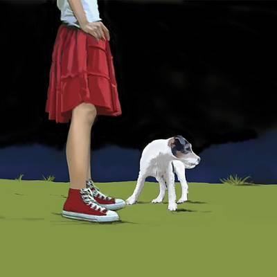 Paws Painting - Girl In Red Skirt by Marjorie Weiss
