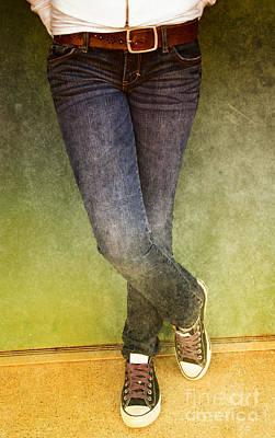 Girl Leaning Against Wall Print by Birgit Tyrrell