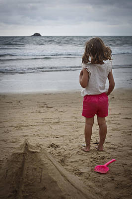 Girl On Beach Print by Kevin Barske