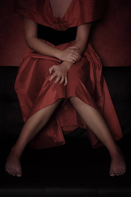 Frock Photograph - Girl On Black Sofa by Joana Kruse