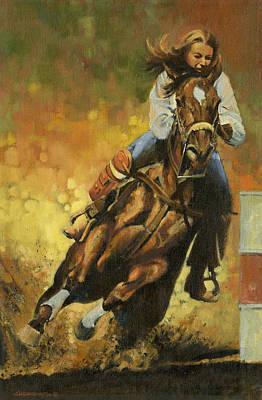 Barrel Racing Painting - Girl Barrel Racing by Don  Langeneckert