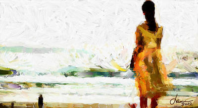 Girl On The Beach Tnm Print by Vincent DiNovici