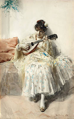 Zorn Painting - Girl Playing Mandolin by Anders Zorn