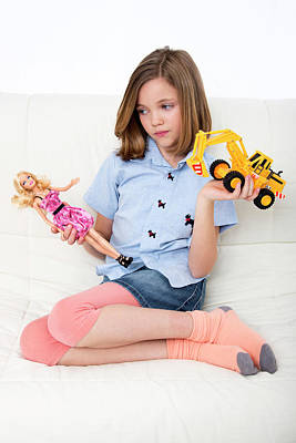 Stereotype Photograph - Girl Playing With Doll And Toy Truck by Lea Paterson
