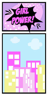 Comic Book Painting - Girl Power by Anna Quach
