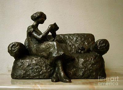 Bronze Sculpture - Girl Reading A Letter by Nikola Litchkov