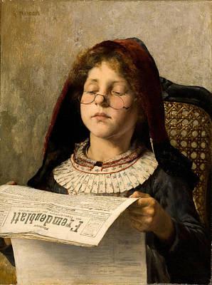 Georgio Painting - Girl Reading by Georgios Jakovidis