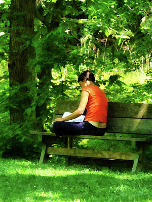 Park Benches Photograph - Girl Reading In Park by Susan Savad