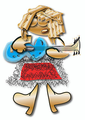 Rock And Roll Digital Art - Girl Rocker 6 String Guitar by Marvin Blaine